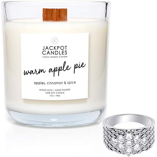 Warm Apple Pie Candle with Ring Inside (Surprise Jewelry Valued at $15 to $5,000) Ring Size 9