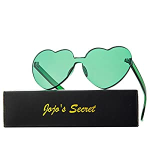 JOJO'S SECRET Heart Shape Rimless Sunglasses, One Piece Tinted Transparent Candy Color Eyewear JS044(Green, 2.5)