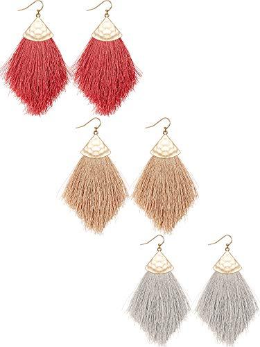 3 Pairs Bohemian Feather Tassel Drop Earrings Boho Silky Thread Fringe Hook Earrings Statement Drop Earrings for Women (Brown, Red, Gray)