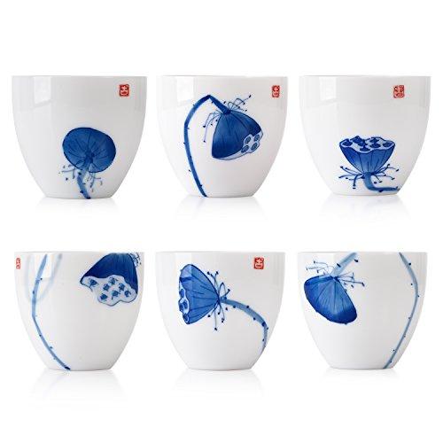 Freehand Sketching Lotus Tea Cup Set of 6, Blue and White Porcelain Teaset Asian White Tea Tea
