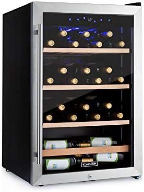 Klarstein Vinamour - Nevera para vinos, Temperatura 5-22 °C, Pantalla LCD, Panel de control táctil, Acero inoxidable, 3 zonas de refrigeración, Capacidad de 128 Litros, Para 48 botellas, Negro[Clase de eficiencia energética G]