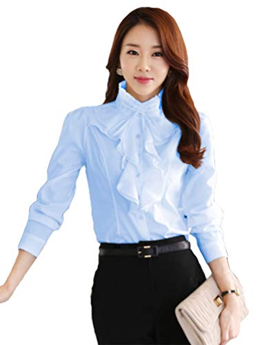 ezShe Women's Stand Up Collar Lotus Ruffle Satin Shirt Blouse Blue 2XL ()