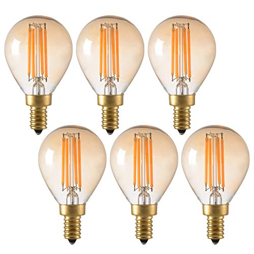 Panledo 4W Vintage Edison LED Filament Light Bulb, Dimmable, 2200K Ultra Warm White, E12 Candelabra Base, G45/G14 Amber Glass Globe Cover, Antique Gold Tint, 40W Incandescent Replacement, Pack of 6