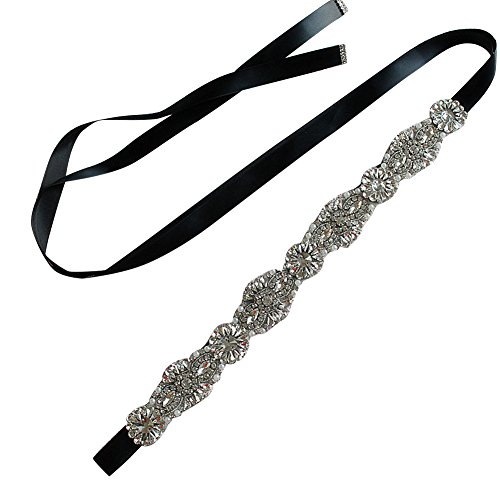 Girl's Crystal Satin Ribbon Bridal Wedding Belt Rhinestone Sash for Evening Dress,Black