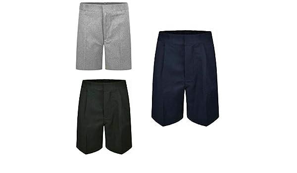 Boys Generous Elasticated Waist Plain Short Kids School Uniform Plus Fit Shorts