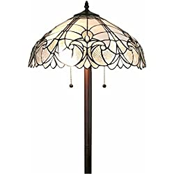 Amora Lighting AM205FL18 White Mahogany Art Glass 62 inch Tiffany Style Floral Floor Lamp Tiffany White Mahogany Art Glass 62 inch Tiffany Style Floral Floor Lamp