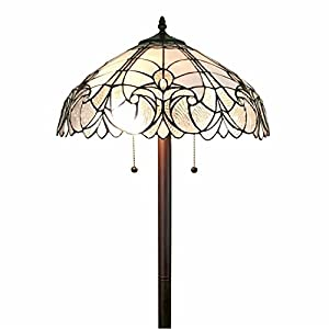 Amora Lighting 62 Inch Mahogany Floral Floor Lamp