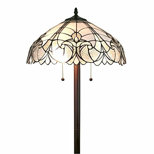 (Amora Lighting AM205FL18 White Mahogany Art Glass 62 inch Tiffany Style Floral Floor Lamp Tiffany White Mahogany Art Glass 62 inch Tiffany Style Floral Floor Lamp)