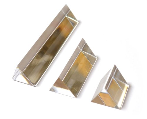 "EISCO PH0554SET Eisco Labs Equilateral Acrylic Prisms (1""/25mm sides), Set of 3 Prisms - 1"" (25mm), 2"" (50mm), 4"" (100mm) Lengths"