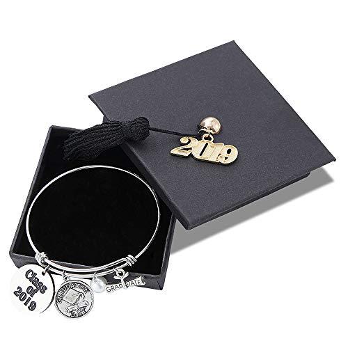 M MOOHAM Inspirational Graduation Gifts Bracelet Women - Class of 2019 Inspirational Graduation Friendship Gifts Adjustable Bracelet with Graduation Charms Graduation Cap for Her Him