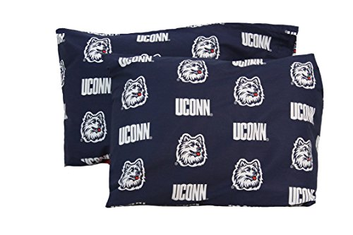 College Covers Connecticut Huskies Pillowcase Pair - Solid (Includes 2 Standard Pillowcases) (Pillow Connecticut Huskies)