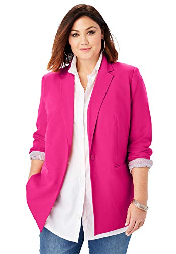 Roamans Women's Plus Size Modern Stretch Blazer - Vivid Pink, 20 W (Romans Coats)