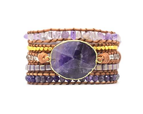 YGLINE Handmade Wrap Bracelet Turquoise,Jasper & Amazonite Natural Stones Leather Charm 5 Strands Boho Bracelet (Amethyst)
