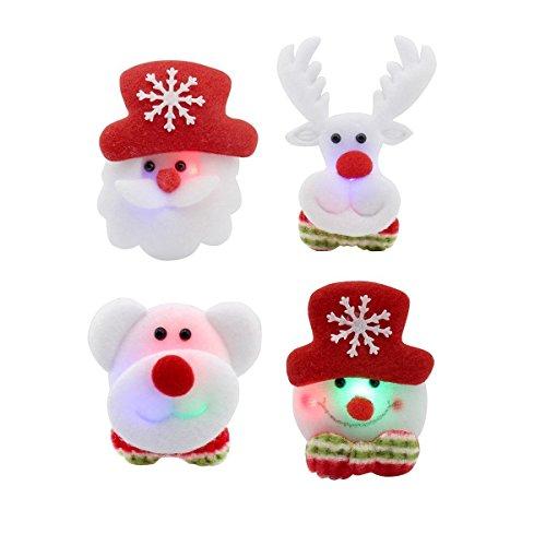 Christmas LED 4pcs Flashing Brooch Pin Xmas Jewellery Badge(Santa, Snowman, Rudolph, Bear) White