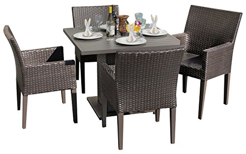 TK Classics Napa Square Outdoor Patio Dining Table and 4 Chairs with Arms