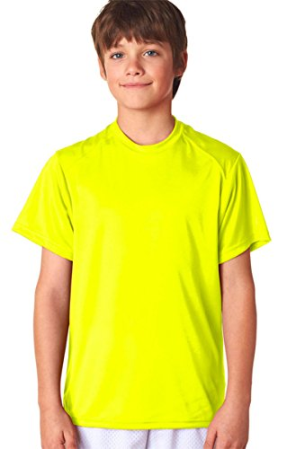 Bar Yellow T-shirt - B-Core Boys' Performance Safety Yellow Polyester T-shirt S