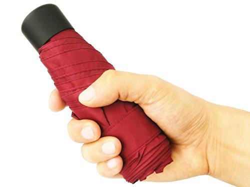 crackajack Mini Travel Portable Compact UV Protective Folding Umbrella Parasol for Sun Rain Backpack Purse Pocket Women (Basic Red)