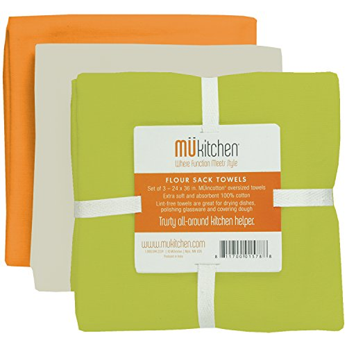 MUkitchen Flour Sack Towel, 24 by 36-Inches, Set of 3, ()