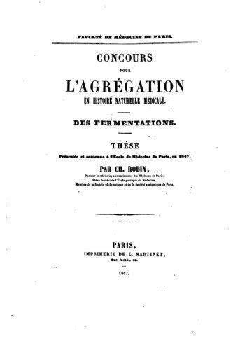Download Concours pour l'Agrégation en Histoire Naturelle Médicale - Des fermentations (French Edition) PDF