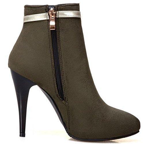 Cerniera Taoffen Moda Boots Laterale Short Stiletto Con Scuro Verde Donna Inverno qZq06w