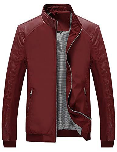 Lentta Men's Casual Slim Lightweight Softshell Zipper Windbreakers Bomber Jacket (Large, Z-04-WineRed)