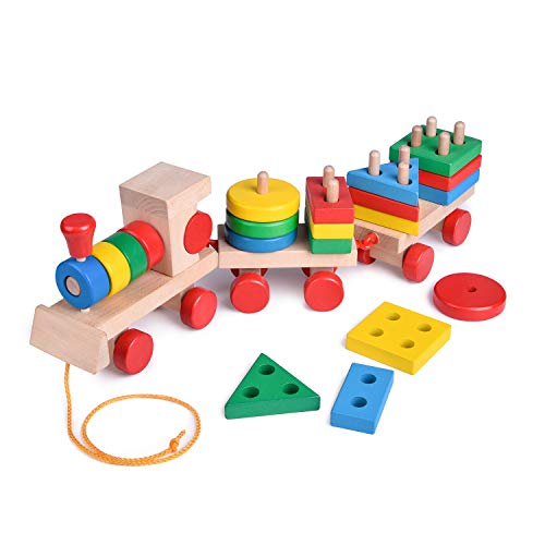 FunLittleToy 15.5 Inches Wooden Stacking Toys Train with Shape Sorter and Stacking Blocks, Toddlers Puzzle Toys, Pull Toys for Toddlers, Preschool Educational Toys (Educational Train)