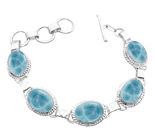 11.50Gms,7.80 Ctw Simulated Larimar 925 Sterling Silver Overlay Handmade Fashion Bracelet Jewelry