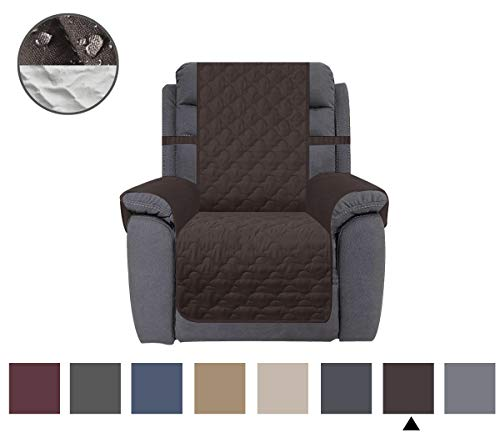 CHHKON Waterproof Nonslip Recliner Cover Stay in Place, Dog Couch Chair Cover Furniture Protector, Ideal Loveseat Slipcovers for Pets and Kids (Chocolate, 23