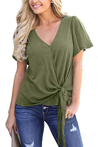 (For G and PL Women Loose Ruffle Short Sleeve Casual Drape Wrap Tops Plain Tie Knot Front V Neck Blouse Olive S )