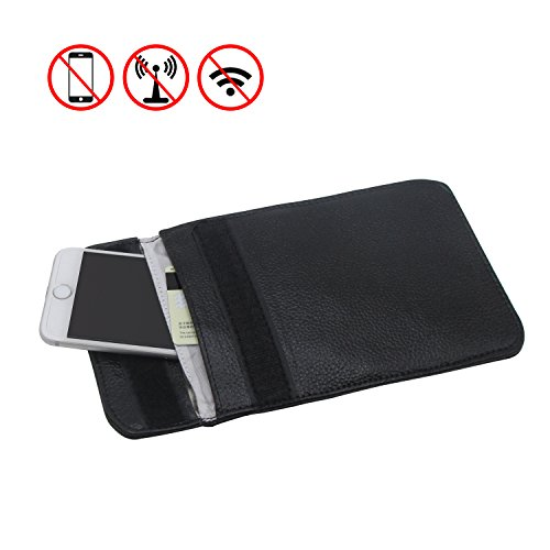RFID Signal Blocking Bag Genuine Leather RFID Signal Shielding Pouch Wallet Case for Cell Phone Anti-Radiation Mobile Phone Bags and Car Key FOB (Black) - Shen Leather