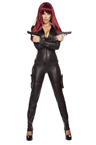 Womens Black Widow Costume (Roma Costume Women's 2 Piece Alluring Assassin, Black,)