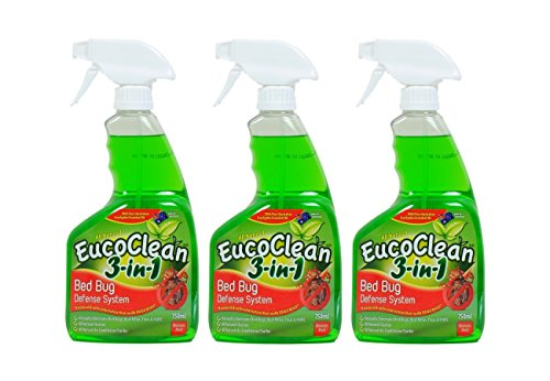 Eucoclean 3-in-1 Natural Bed Bug Spray Killer and Defense System, Pack of 3 - 750ml Bottles - Effective Against Bed Bugs, Fleas, Ticks, Ants - A Home Cleaner that Safely Eliminates Pests