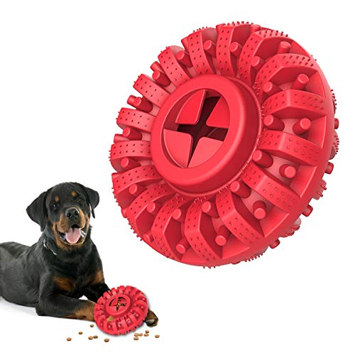 Lewondr Durable Dog Chew Toy for Aggressive Chewers, Solid Tire Design Tough Safe Non-Toxic Rubber Dog Teeth Cleaning Toy Medium & Large Breed Chew Toy for Playing Interaction Training - Black