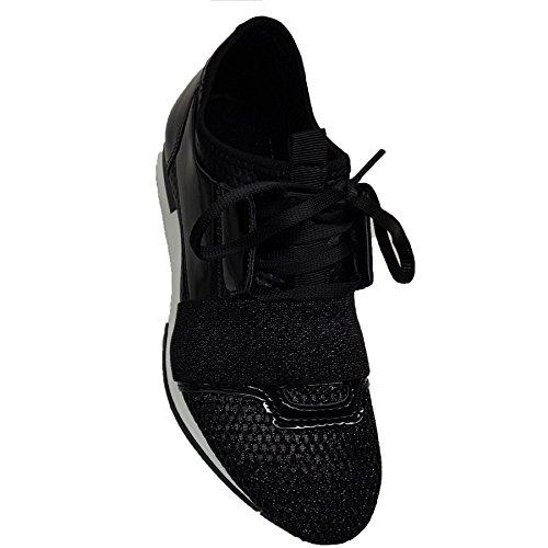 Paillettes Dames Respirable Chaussures Marche Sport De Mode Boutique Métallique Noir Fantasia Gym À Formateurs Lacets tfp545
