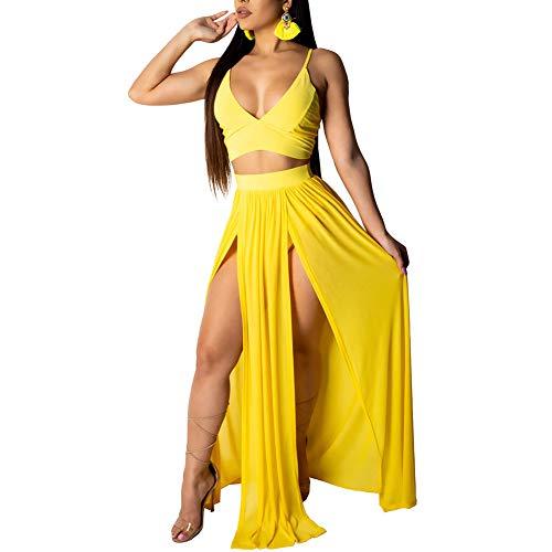 (acelyn Women's Sexy Chiffon Spaghetti Strap Crop Top High Split Maxi Skirt Set 2 Piece Outfits Summer Dresses Beachwear Yellow X-Large)