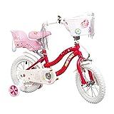 COEWSKE Kid's Bike Steel Frame Children Bicycle Little Princess Style 14-16 Inch with Training Wheel (Red, 16 Inch)