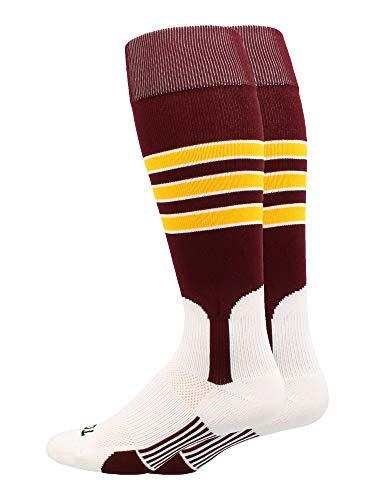 MadSportsStuff Baseball Stirrup Socks 3 Stripe (Maroon/Gold/White, ()
