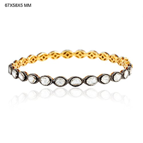 3.15ct Rose Cut Diamond 14kt Gold Bangle Sterling Silver Gift Jewelry by Jaipur Handmade Jewelry