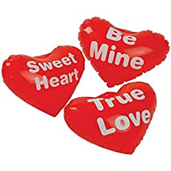 Dozen Inflatable Red Assorted Valentines Day Saying Hearts