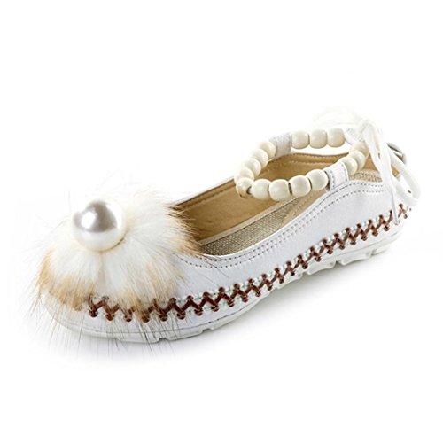 AIMTOPPY HOT Sale Lady Retro Beaded Ethnic Embroidered Shoes Bandage Shoes (US:7.5, White) by AIMTOPPY (Image #1)
