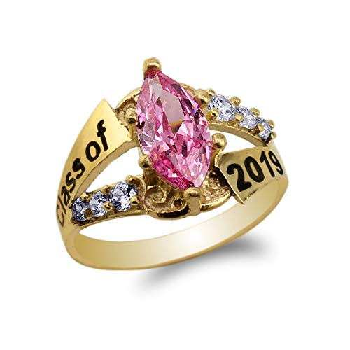 14K Yellow Gold Graduation Class of 2019 School Ring with 1.25ct Pink Marquise CZ Size 8.5