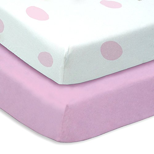 Pink Polka Dot 2 Pack Pink Crib Sheets  Soft Microfiber By W
