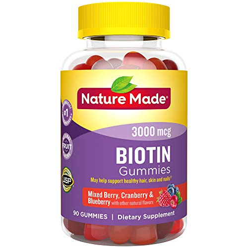 (Nature Made Biotin 3000 mcg Gummies, 90ct to Support Healthy Hair/Skin/Nails† (Packaging May Vary))