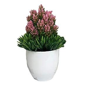KLFrogPond Desktop Potted Set Artificial Flower Fake Plants Bonsai Plastic Vase for Valentine Wedding Christmas Decoration and Home Gift 23