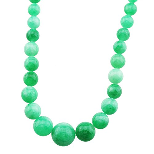 FOY-MALL 6-14mm Natural Cold Jade Graduated Bead Necklace XL1271aM]()