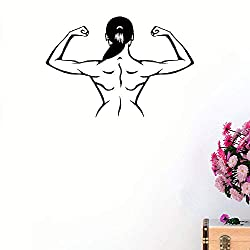 pukepa Vinyl Decal Quote Art Wall Sticker Mirror Decal Muscles Gym Fitness Girl Beautiful Body Sports Health