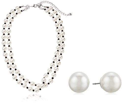 Silver Tone Simulated Cream Pearl and Jet Double Row Necklace and Pearl Stud Earring (Double Row Pearl)