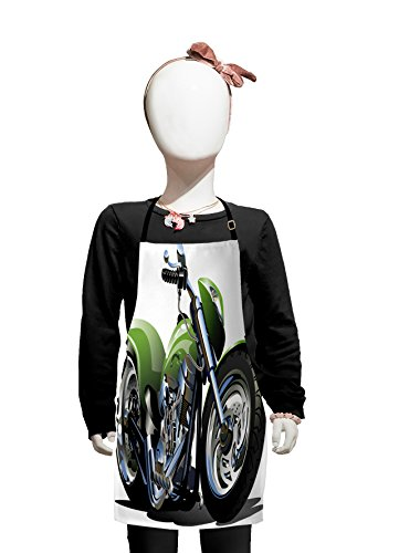 Lunarable Motorcycle Kids Apron, Motorcycle Design with Fancy Supreme Gears and Tires Action Urban Life Print, Boys Girls Apron Bib with Adjustable Ties for Cooking Baking and Painting, Green -