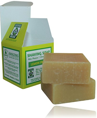 Organic Shaving Soap * LEMON FRESH * Unisex *Two 3.75 oz Bars *5in1 (Shave Shampoo Cond. Body & Beard Soap)* Certified Organic By Oregon Tilth *Made W/Softening Butters & Oils & Org. Lemon Essen. Oil by Perfect Body Harmony