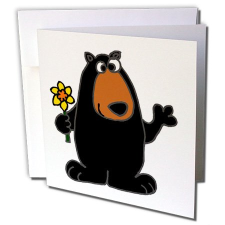 Cute Black Bear holding Daffodil Flower - Greeting Cards, 6 x 6 inches, set of 6 (gc_196105_1) (Daffodil Bear)